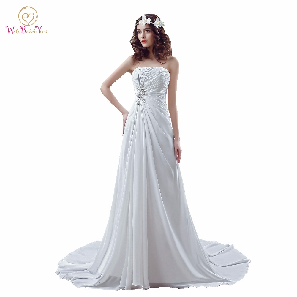 100 Real Images Gowns Wedding Dresses Western White Ivory Beaded Wedding Dresses Pleat Strapless A line