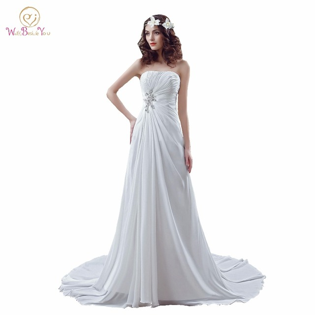 100% Real Images Gowns Wedding Dresses Western White / Ivory Beaded ...
