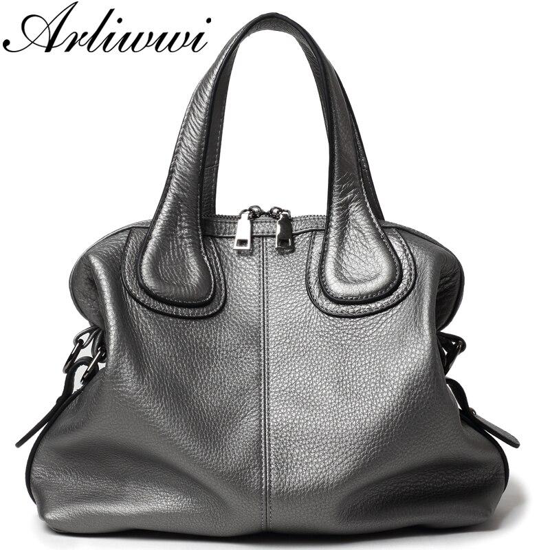 Arliwwi Luxury Extra Soft Real Leather Handbags Women Bags Designer Genuine Leather Women's Dark Silver Fashion Messenger Bag