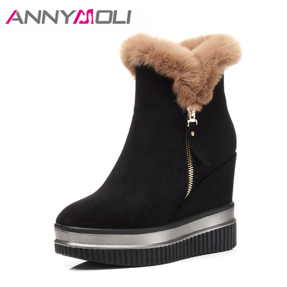 ANNYMOLI Ladies Winter Shoes High Heels Ankle Boots Platform Wedge Heel Boot Natural Fur Boots Zip Black Boots Autumn Footwear women jeans vintage flower embroidery high waist pocket straight jeans female bottom light blue hole casual pants capris new