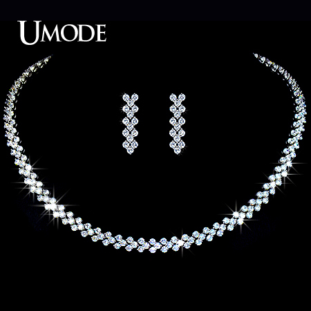 UMODE Wedding Jewelry Set Including 1 Pair of CZ Stone Dangle Earrings 1 White Gold Color