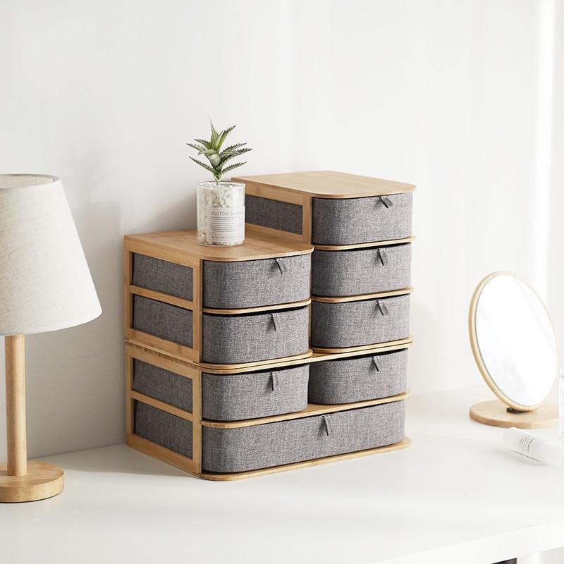 Multi Layer Bamboo Wood Desktop Storage Box Drawer Type Home Office Finishing Box Cabinets Organizer Multifunctional drawer