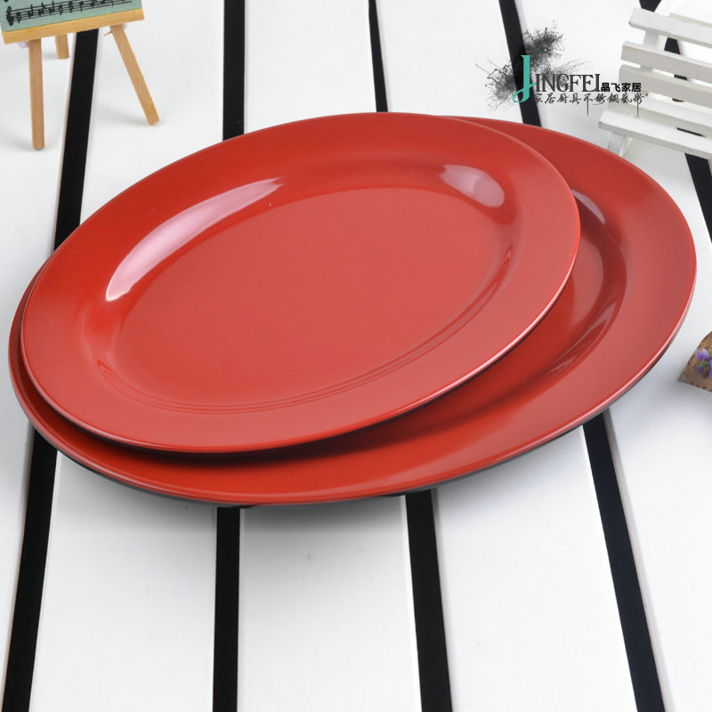 10 Inch New Anese Style Black Red Plastic Melamine Plates Cooking Dishes Flat Plate Fish Oval Tray Western Dinnerware