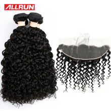 Allrun Water Wave Malaysian 4 Bundles With 13*4 Lace Frontal Human Hair Bundles Natural Color Hair Weave Non Remy Hair 5Pcs/lot