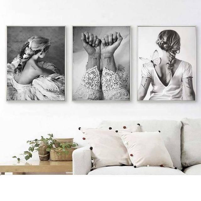 Decorative Black White Wall Painting 3 Pcs Set