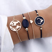 Deer head black beaded stone bracelet love round chain four-piece set of new style European and American retro style(China)