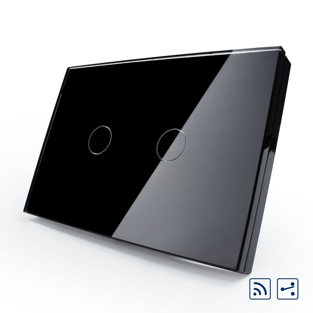 Norme Livolo US/AU, VL-C302SR-82 de commutation intelligente, panneau en verre cristal, commutateur de lumière murale numérique à distance 2 voies 2 voies