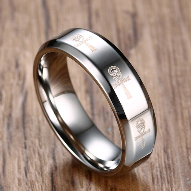 Silver Black Gold Key Of Life Wedding Brands Ankh Mens Rings Stainless Steel Engagement Party Bague