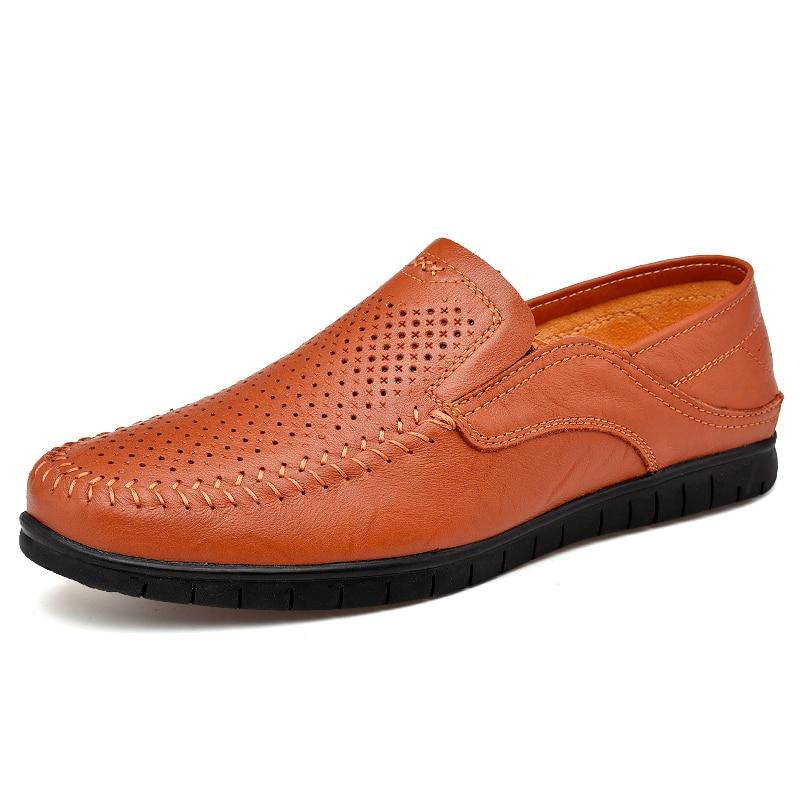 Humor Sommer Hohl Schuhe Männer Casual Leder Designer Atmungsaktive Schuhe Männer Hohe Qualität Männer Müßiggänger Luxus Marke Mokassins 15d50 Gute QualitäT Home