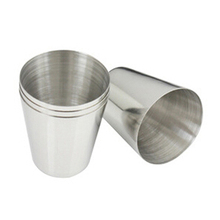 4Pcs Outdoor Camping Hiking Polished Stainless Steel Whiskey Liquor Cup for Hip Flask