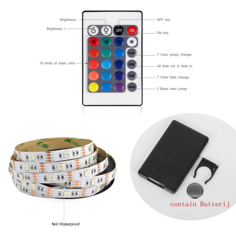 5050 SMD RGB USB LED Strip light DC 5V TV LCD Background Lighting With 24key IR Controller Tape Waterproof 0.5M 1M 2M ...