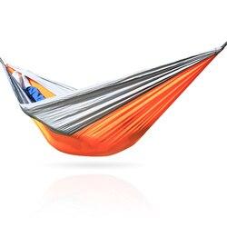Pomarańczowy  szary  hamak nylonu tkanina na spadochron hamaki na zewnątrz Camping hamak Hamaca Hammac|Hamaki|   -