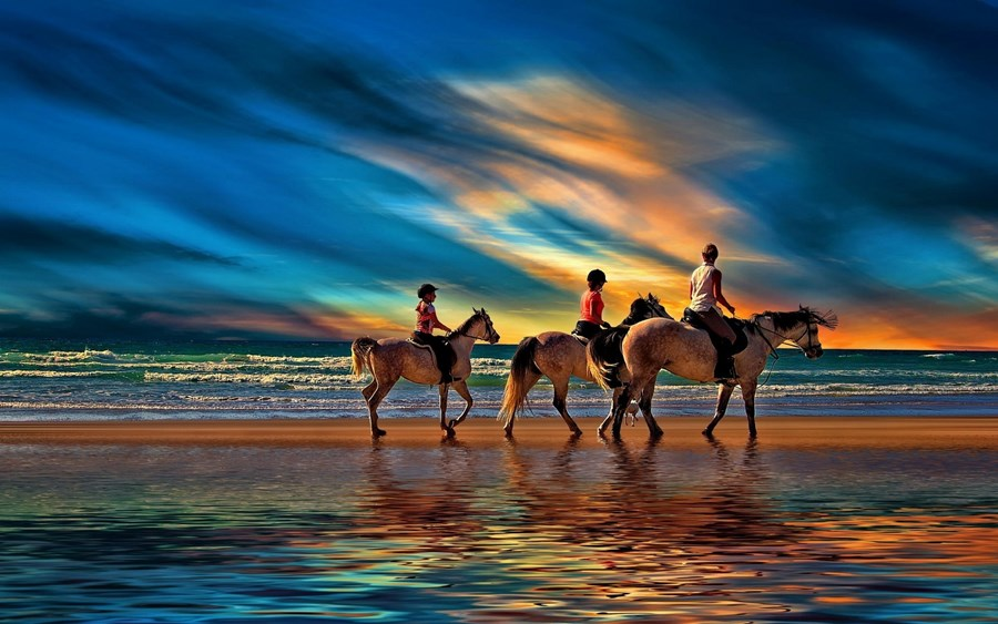 Living room bedroom home wall decoration fabric poster beach clouds family horse landscape nature sand sea sunset water painting