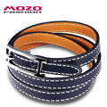 MOZO FASHION Women Vintage Multilayer Leather Wrap Bracelets Stainless Steel Buckle Bracelet Women Charm Jewelry 4 Colors MPH988