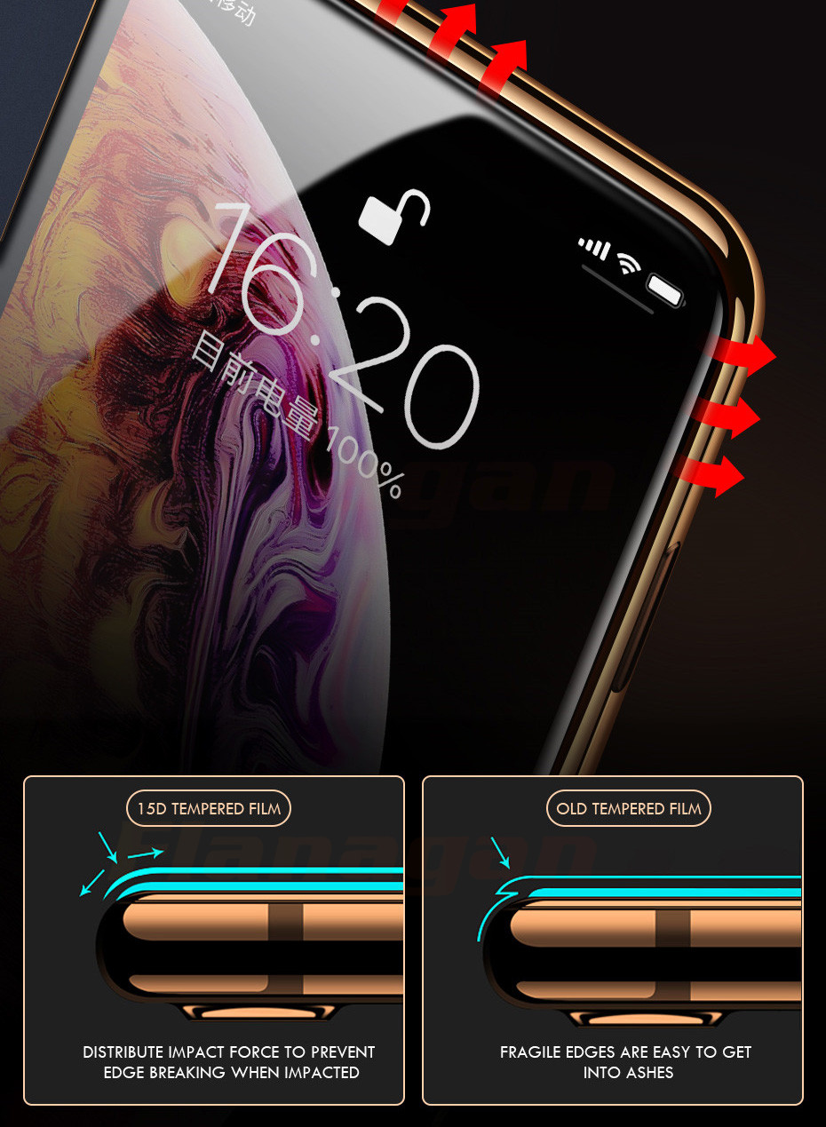 15D Protective Glass on the For iPhone 6 6s 7 8 plus XR X XS glass full cover iPhone Xs Max Screen Protector Tempered Glass 11