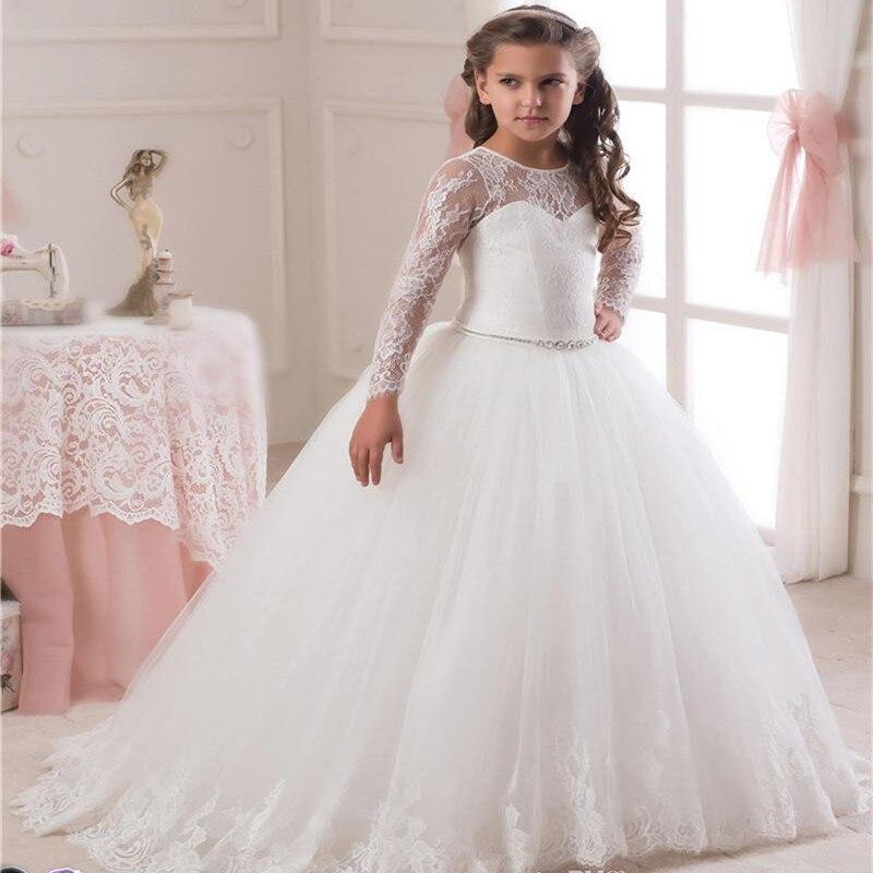 Jurk Kind Bruiloft.Lange Mouwen White Lace Baljurk Bloem Meisjes Jurken Eenvoudige Kids