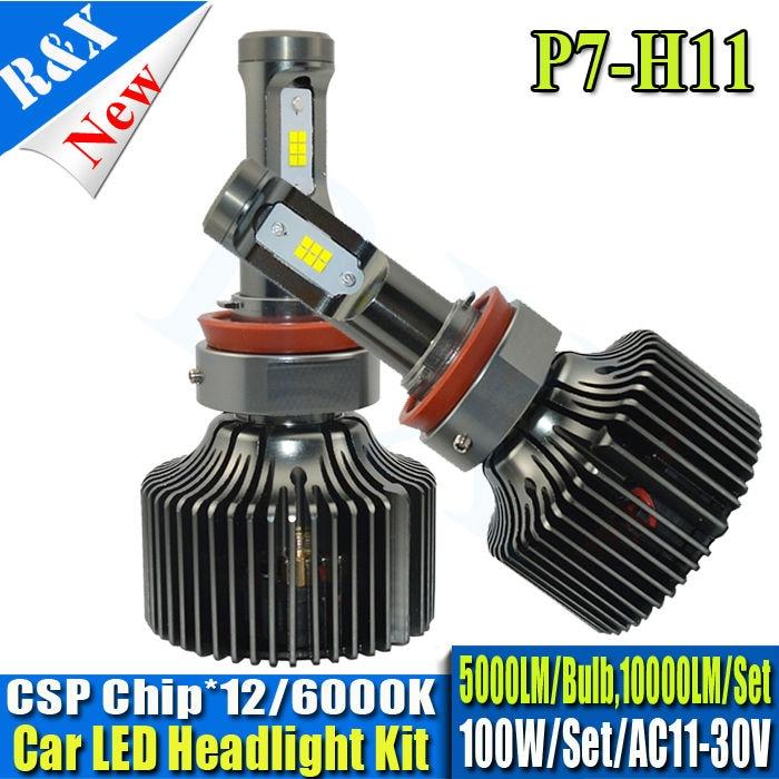 1set H11 LED Headlight Conversion Kit 100w 10000lm Headlamp White HID Xenon Kit 12v 24v Bulb Lamp Car With CSP LED Chips