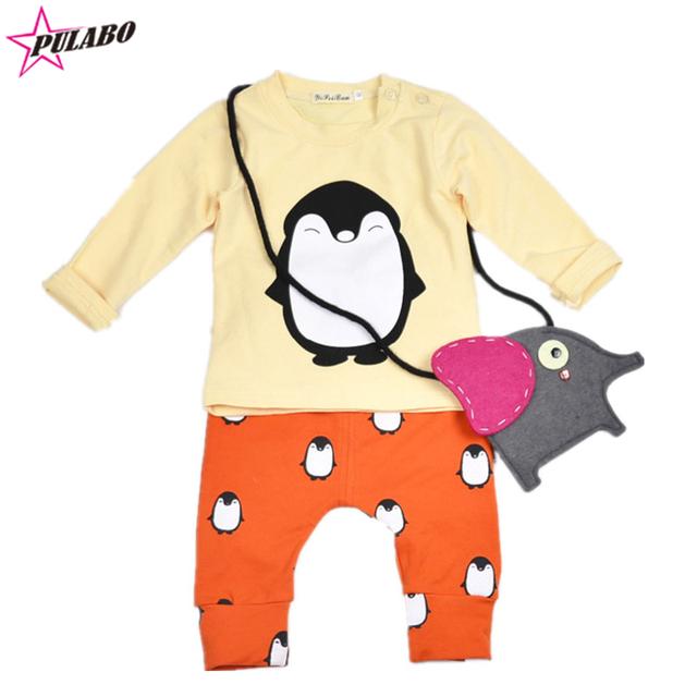 2016 primavera outono roupas de bebê menino menina unisex algodão longo mangas compridas t-shirt + calças 2 pcs Infantis pinguim do bebê roupas menino conjunto
