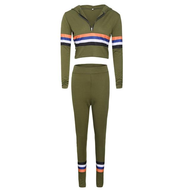 Free Ostrich 2018 Autumn 2 Piece Set Women Tracksuit Sportswear Casual Sweat Pants Hooded Cropped Sweatshirt Hoodie N30 2