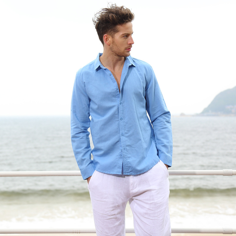 Cotone + lino 2016 estate uomini camicia di lino nuovo stile cinese - Abbigliamento da uomo