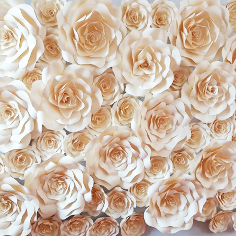 50PCS SET Giant Paper Flower Stereo Handmade Finished Rose For Wedding Backdrop Full Wall Decorations Deco Backdrops 1.8*2m
