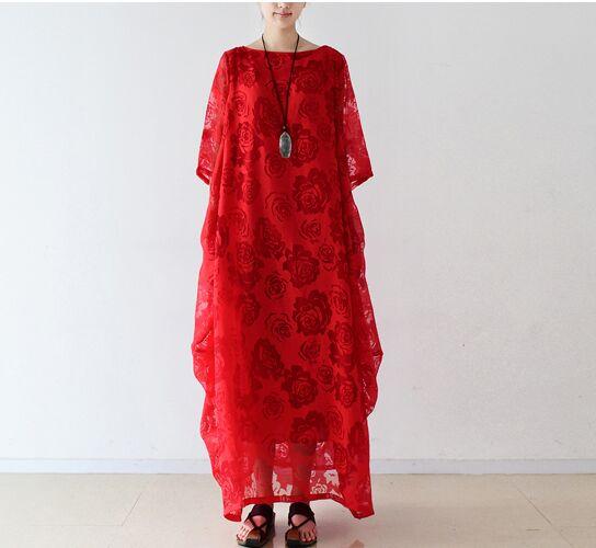 2017 femmes élégantes dentelle en mousseline de soie lâche taille robes rouge blanc manches courtes printemps robe femme rose dentelle boho robe longue maxi