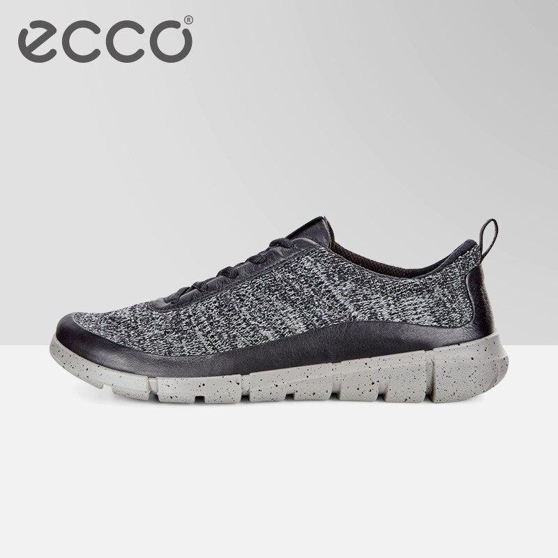 ECCO Демисезонный Для мужчин повседневная обувь бренд Fly вязать Мужские дышащие Сникеры Туфли без каблуков сетки Лоферы без застежки свет Вес