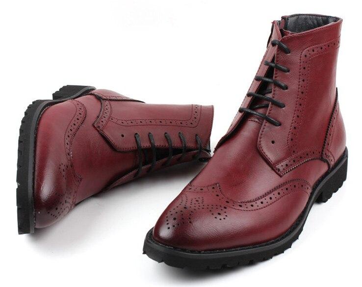 2018 nouvelle mode hommes chaussures en cuir mâle automne hiver chaussures en cuir angleterre style hommes plat décontracté martin bottes - 3
