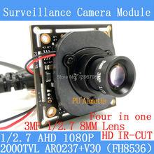 2MP 1920*1080P AHD 1/2.7 Four in one AR0237+V30 CCTV Camera Module 3MP 8mm 2000TVL surveillance camer ODS/ BNC Cable+HD IR-CUT