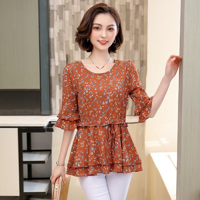 568a91e37 Printting LINPEIHAN Moda Mulheres tops e blusas Meia manga Chiffon blusa  Floral Camisas Da Camisa Das