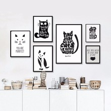 Black and White Cat, Aniamls Quote Modern Poster Canvas Printings Wall Art Prints Pictures for Living Room no frame