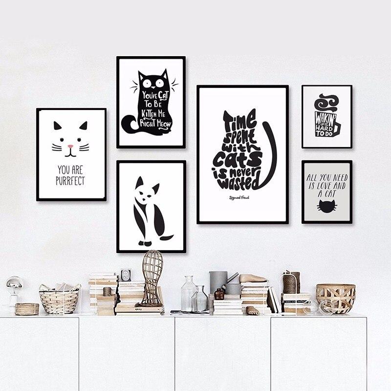 ⊰Gato blanco y negro animales cita cartel moderno lienzo ...