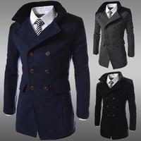 2018 Men Jacket black Warm Winter Trench Long Outwear Button Smart Overcoat men Stylish formal coats sobretudo Puls size xxxl