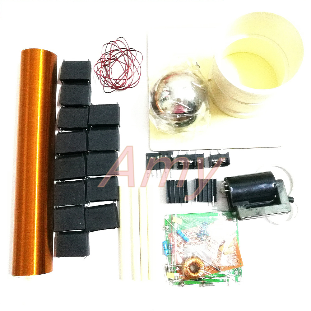 Spark gap Tesla coil kit DIY technology to make wireless transmission lights arcing and arc spraying