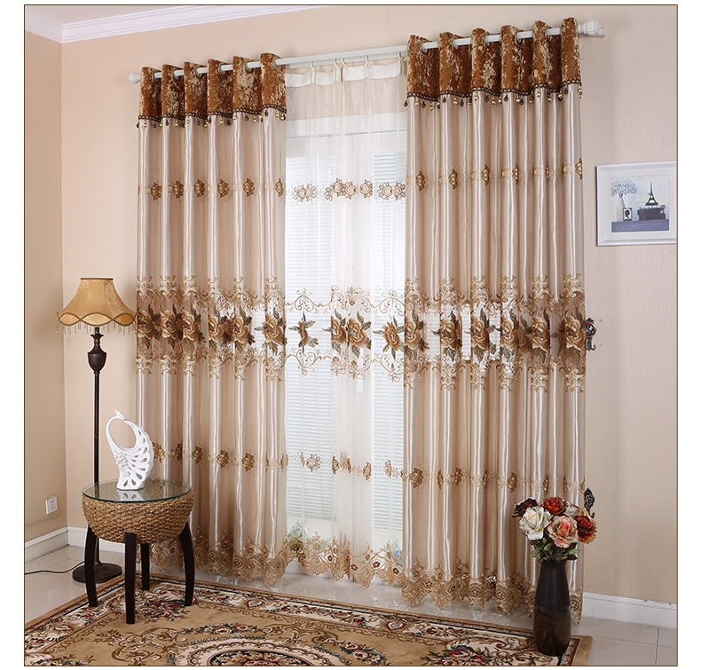 Great Luxury High End European Style Moden Minimalist Semi  Shade Curtains For Living  Room 3 Colors Curtain And Tulle For Choose Part 25