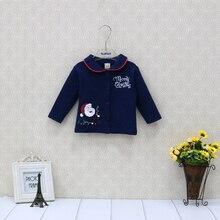 Детская Рождественская блузка из чистого хлопка, рубашки с длинными рукавами для новорожденных, детская одежда, модная одежда для мальчиков и девочек