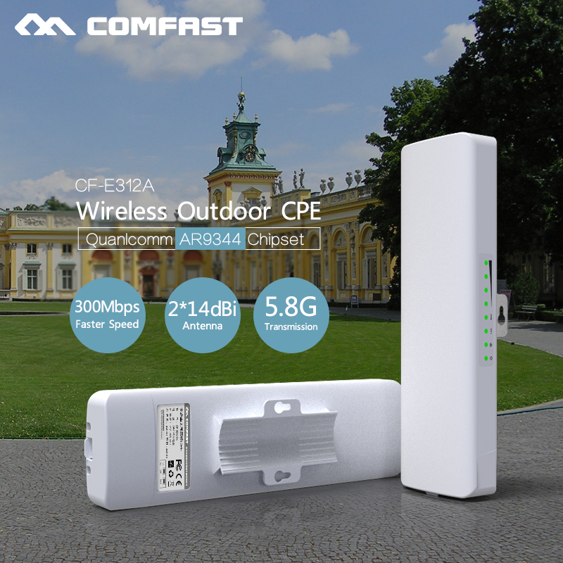 300Mbps 5.8G Wireless outdoor router 802.11AC WIFI Repeater 48V POE power AR9344 WiFi Access Point CPE bridge COMFAST CF-E312A outdoor cpe 5 8g wifi router 200mw 1 3km 300mbps wireless access point cpe wifi router with 48v poe adapter wifi bridge cf e312a