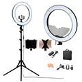 """Fosoto Cámara De Fotos/Video/teléfono RL-18 """"Anillo Regulable 55 W 240 LED 5500 K Photography Luz de Vídeo lámpara Con Espejo/Soporte Del Trípode"""