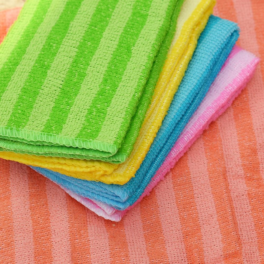5Pcs High Efficient Anti-grease Dish Cloth Bamboo Fiber Washing Towel Magic Kitchen Cleaning Wiping 1