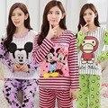 Nueva lista de 2017 del otoño del resorte de manga larga pijamas set para mujeres modal delgada de seda pijamas Equipamiento Del Hogar ropa envío gratis