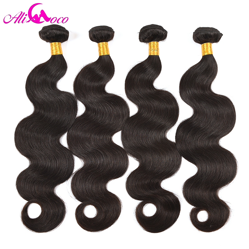 Ali Coco 4 Bundles Deal Brazilian Body Wave Hair Extensions 8-28 inch Non Remy Human Hair Bundles Brazilian Hair Weave...