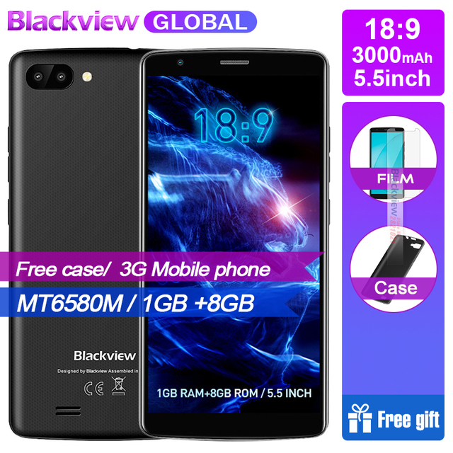 2018 NEW ARRIVAL OFFICIAL Blackview A20 Smartphones 18:9 5.5 inch Android Go dual Camera 1GB 8GB MT6580M 5MP 3G Mobile phone