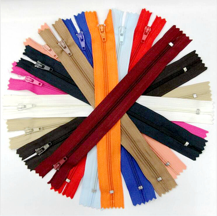 100 Pcs/lot Nylon Tape Zip Coil Zippers Tailor Sewer Craft 9 Inch 20 Cm Crafter's DIY Accessories For Sewing Clothing 13Colors