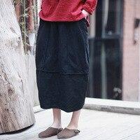 Linen Skirt New Vintage And Retro Ethnic Elegant Skirts Solid Long Red Black Skirt Bud Hem