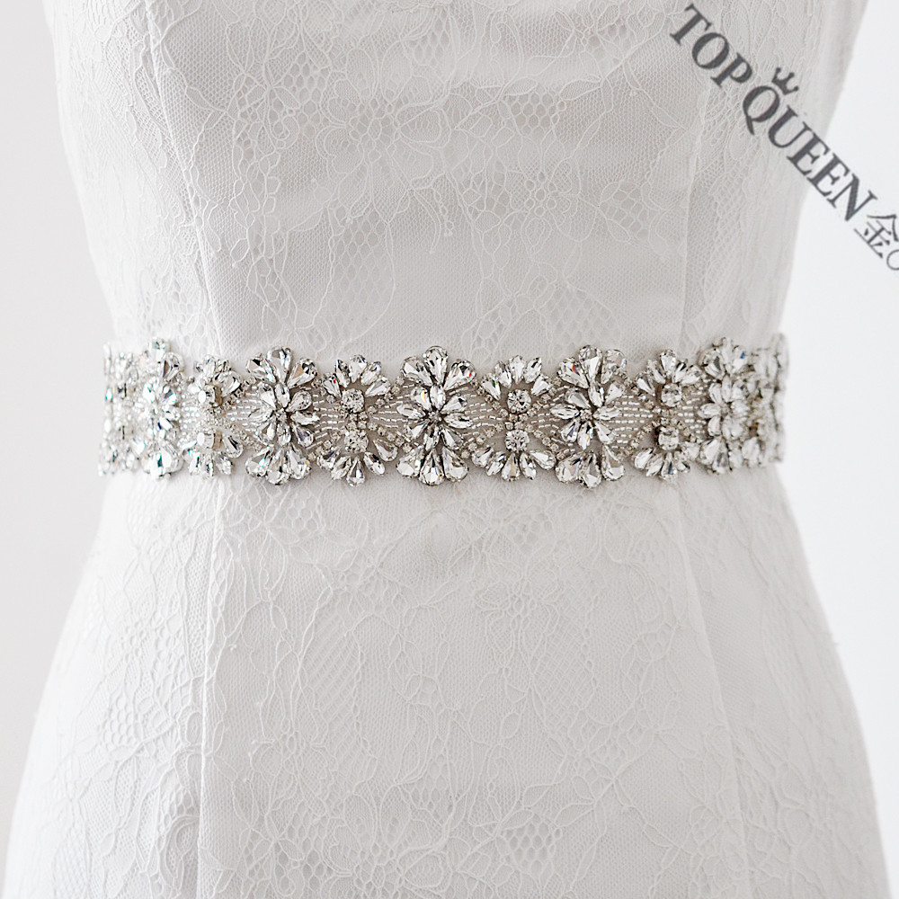 TOPQUEEN S236 Rhinestone Bridal Wedding Belts Sash Elegant Luxury ...