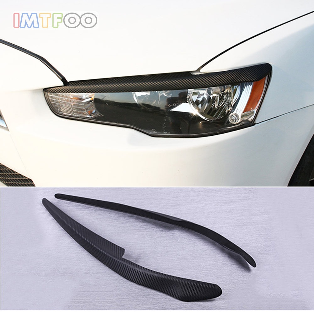 IMTFOO CAR HEADLIGHTS DECAL COVER EXTERIOR MOLDING FOR MITSUBISHI LANCER EVO EX 2010 2015 ACCESSORIES