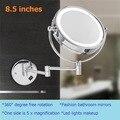 De alta calidad de 8.5 pulgadas 2-Face luces LED espejo de Maquillaje espejo de aumento 10X amplificación brazo telescópico espejo del baño de Acero Inoxidable