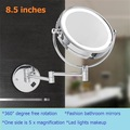 High-grade 8.5 inch cosmetic mirror 2-Face LED lights Makeup mirror 10X amplification telescopic arm bath mirror Stainless Steel