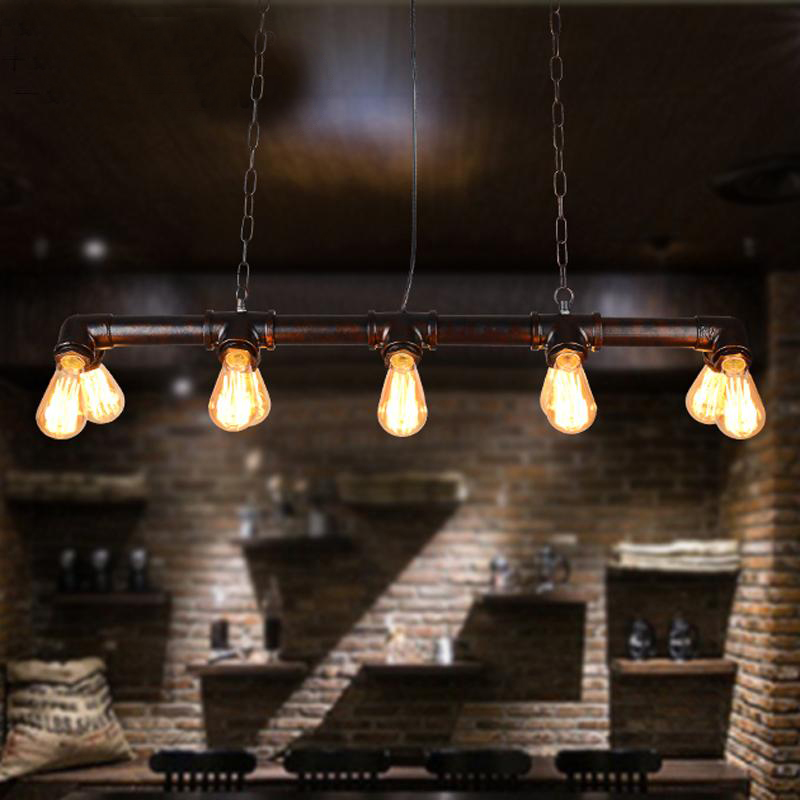 Loft, wrought iron chandelier, restoring ancient ways American personality droplight creative pipe industry wind cafe bar цена и фото