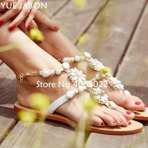 women shoes Women sandals comfort flat sandals Rhinestones summer fashion beach sandals Gladiator Flat Sandals Plus Size Lahore